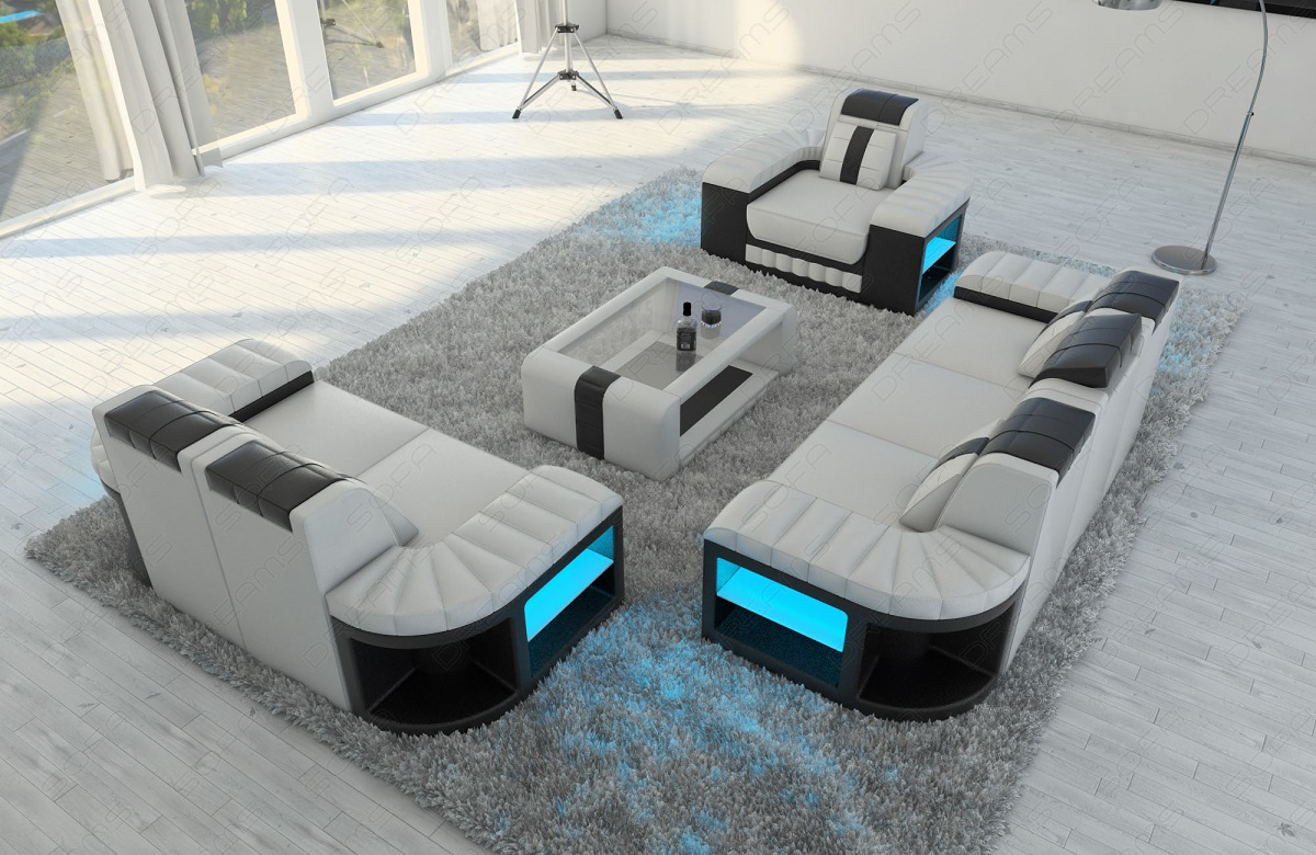 sofagarnitur couch garnitur sitzgruppe bellagio 3 2 1 mit led ledersofa weiss ebay. Black Bedroom Furniture Sets. Home Design Ideas