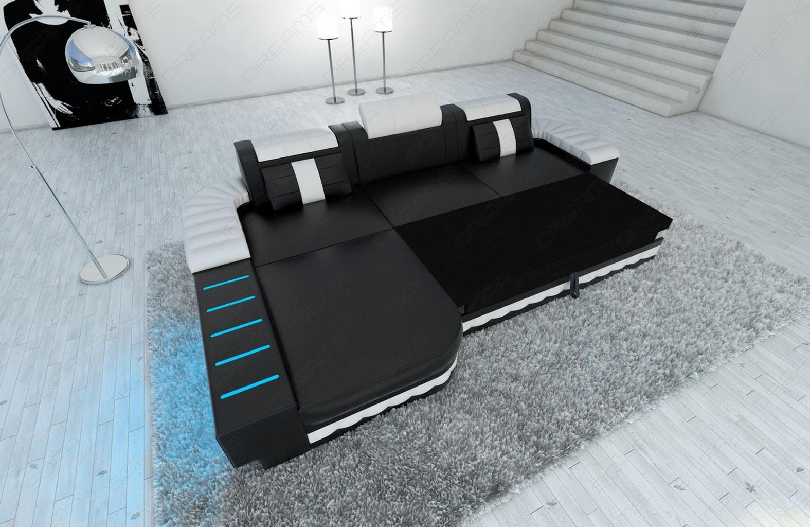 design ledersofa bellagio l form designersofa mit led beleuchtung ebay. Black Bedroom Furniture Sets. Home Design Ideas