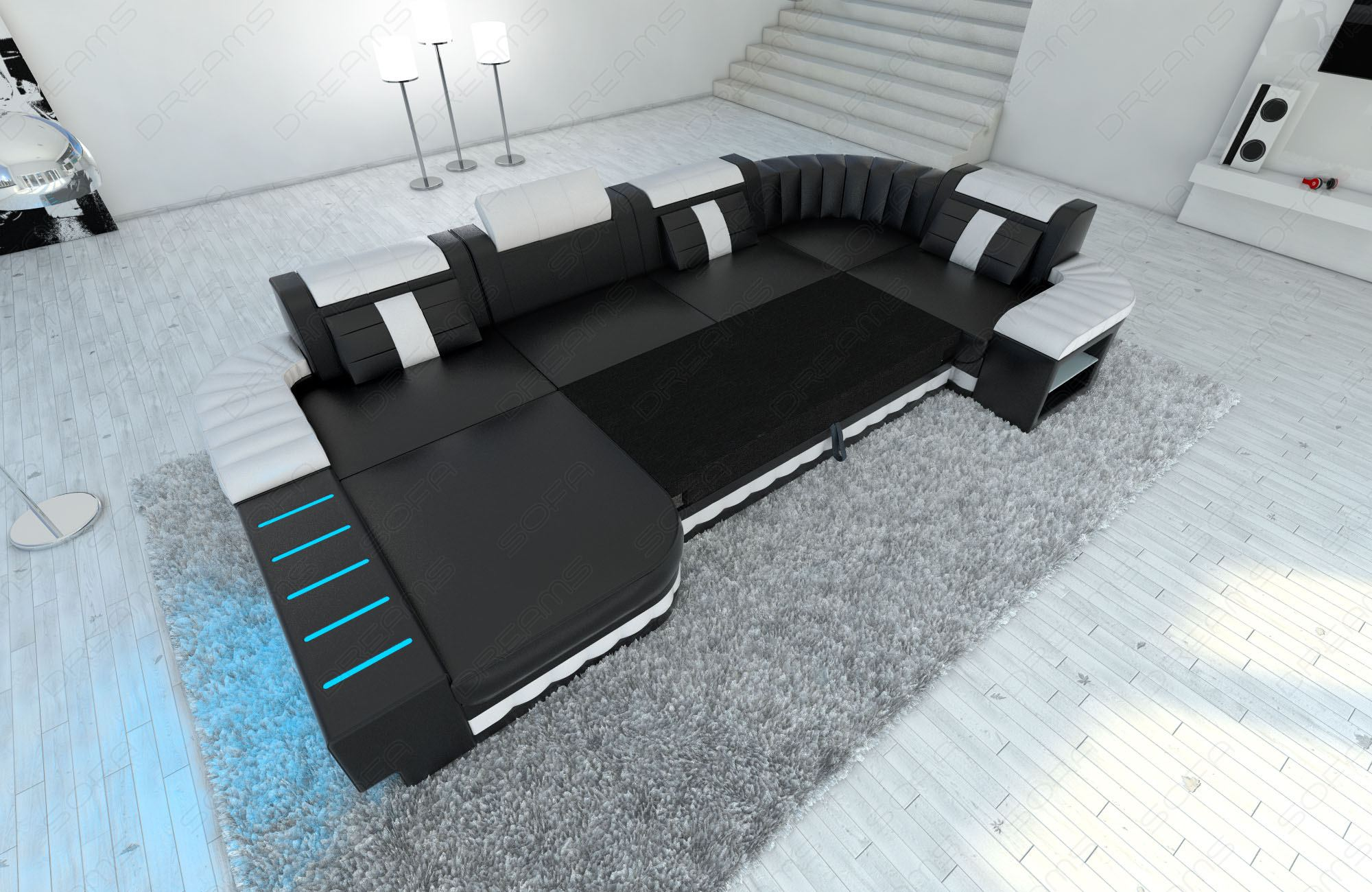big upholstery fabric sofa bellagio u shape with led lights design sofa ebay. Black Bedroom Furniture Sets. Home Design Ideas