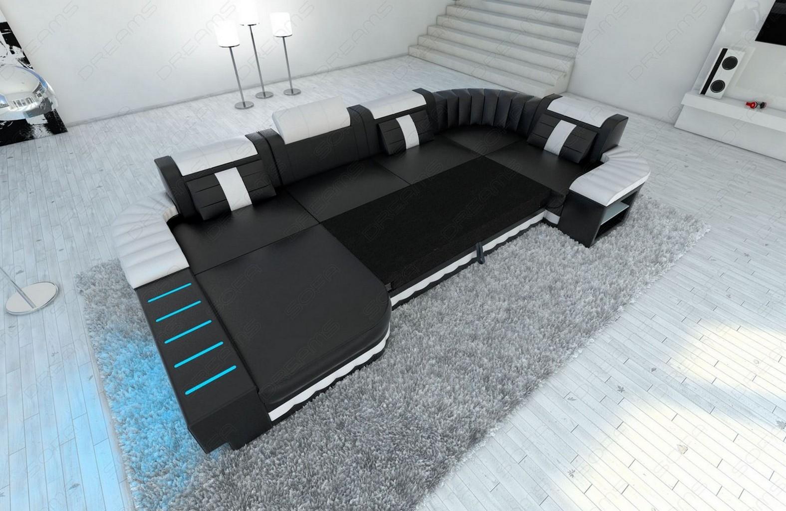 big upholstery fabric sofa bellagio u shape with led lights design sofa ebay. Black Bedroom Furniture Sets. Home Design Ideas