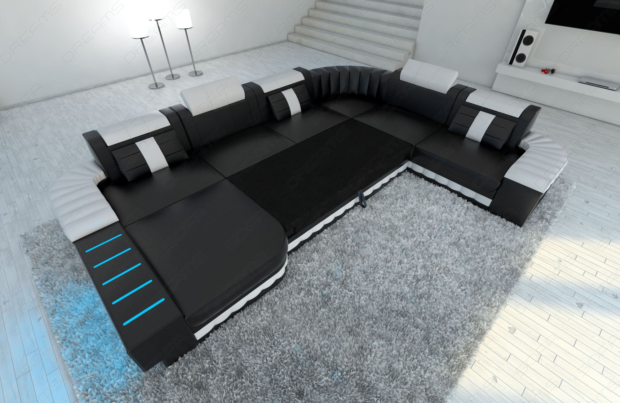 Xxl sofa mit bettfunktion  Fabric Sectional Sofa BELLAGIO XXL Design Couch with LED Lighting ...