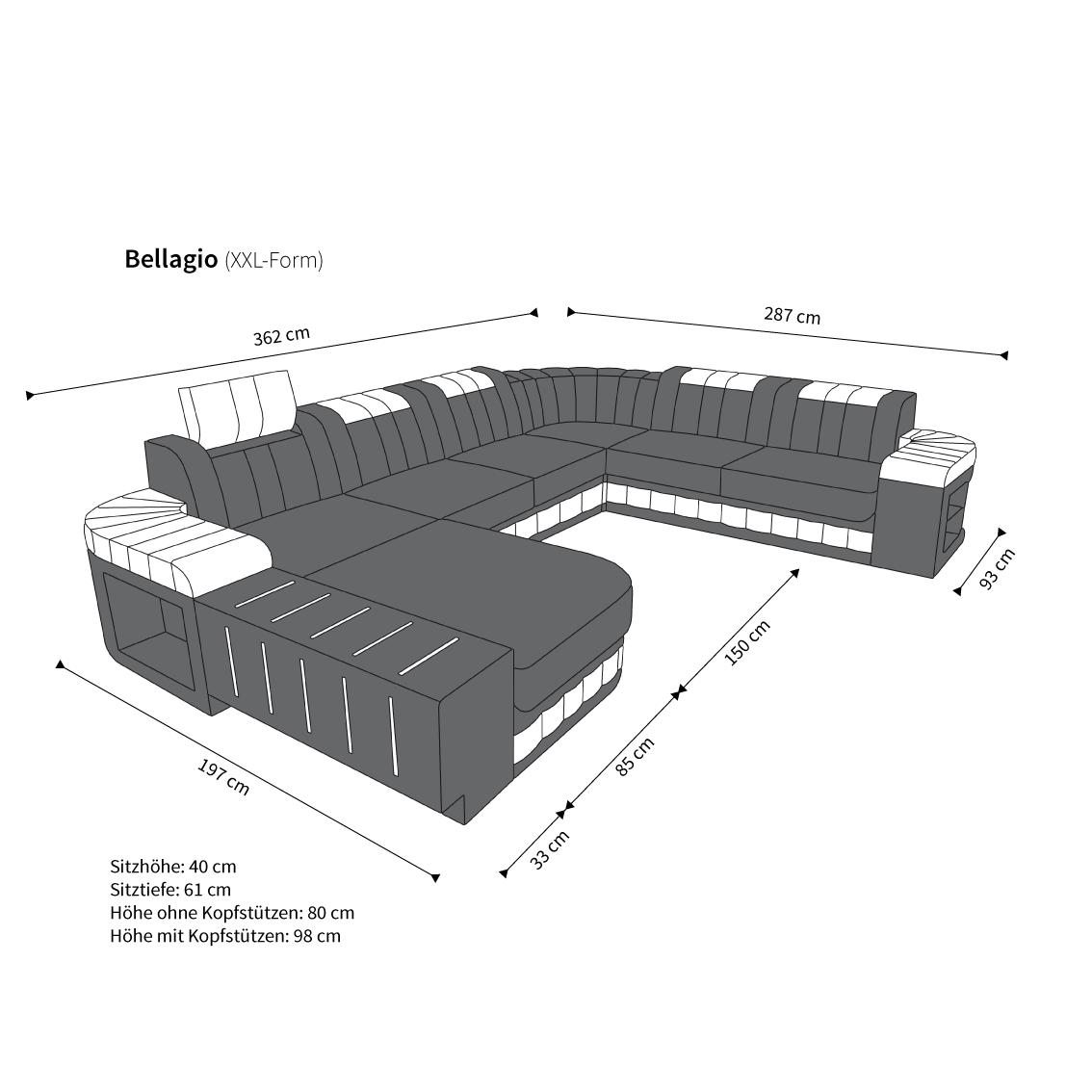 Designer Wohnlandschaft Bellagio Led Beleuchtung Xxl Sofa Couch