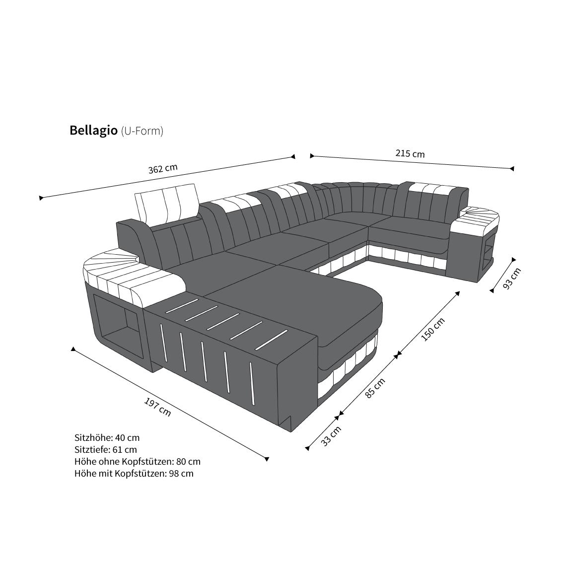 sofagarnitur bellagio u form xxl couch design sofa weiss moderne wohnlandschaft ebay