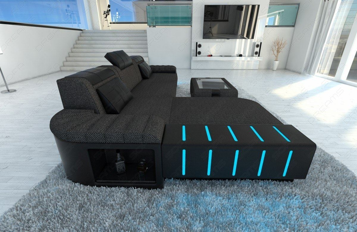 fabric sectional sofa bellagio l shape with led lights choose your. Black Bedroom Furniture Sets. Home Design Ideas