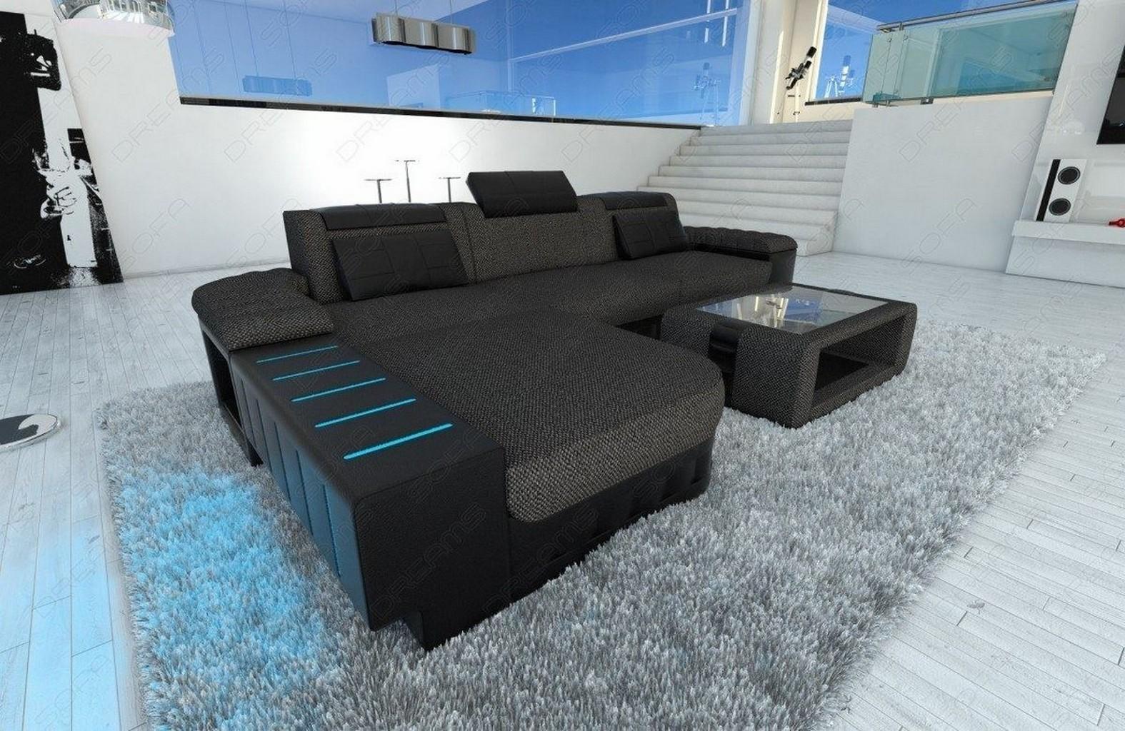 Fabric Sofa BELLAGIO L Shaped With LED Half Leather