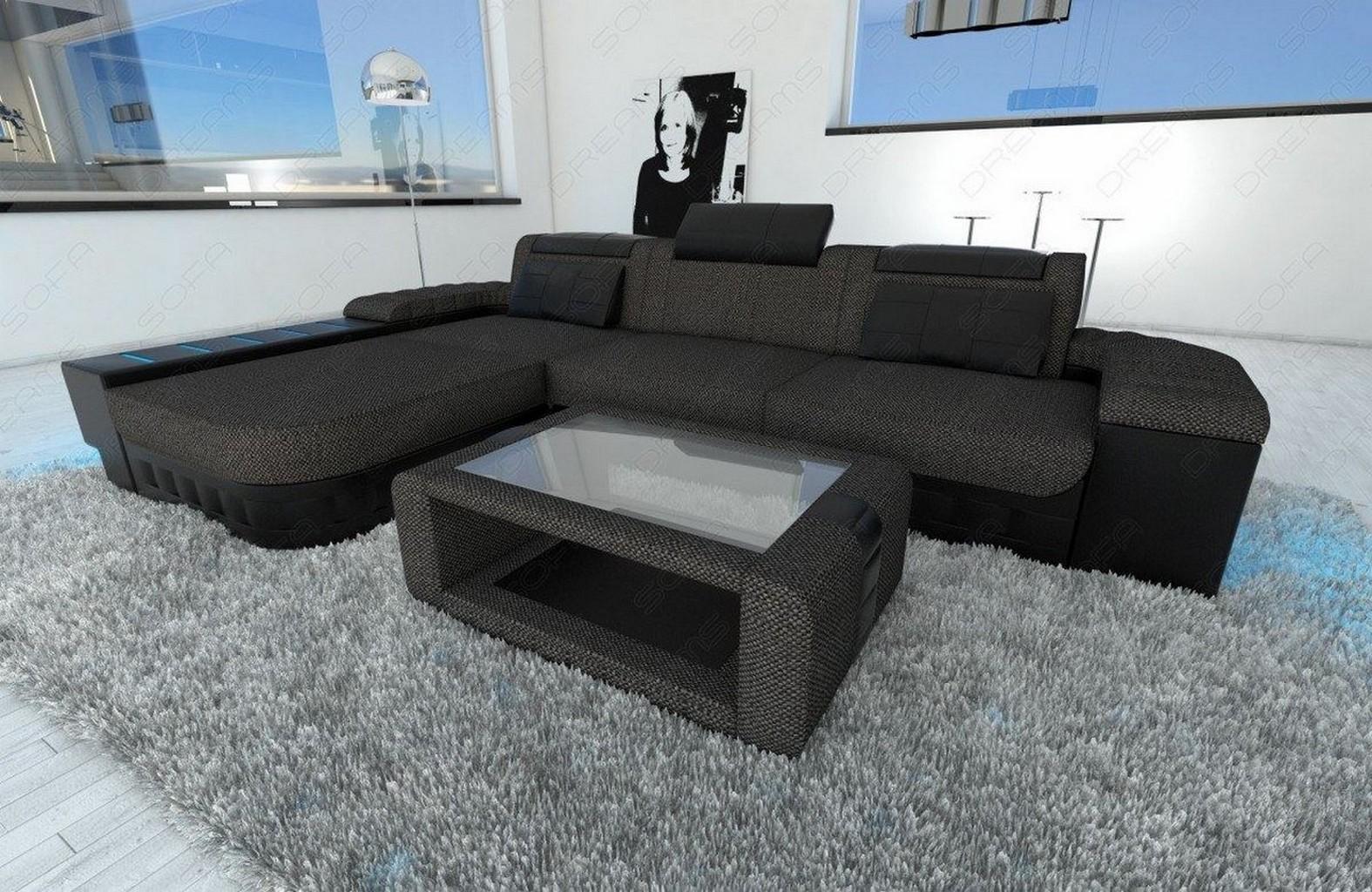 sofa materialmix bellagio l form grau led beleuchtung halb stoff halb leder ebay. Black Bedroom Furniture Sets. Home Design Ideas