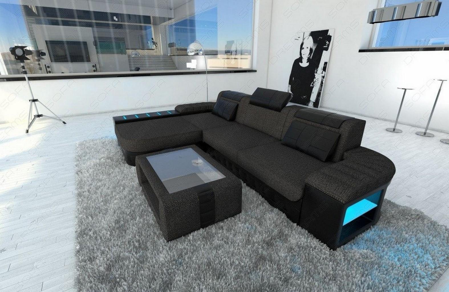 Ecksofa Design Couch Luxus Sofa BELLAGIO L Form grau Recamiere + LED ...