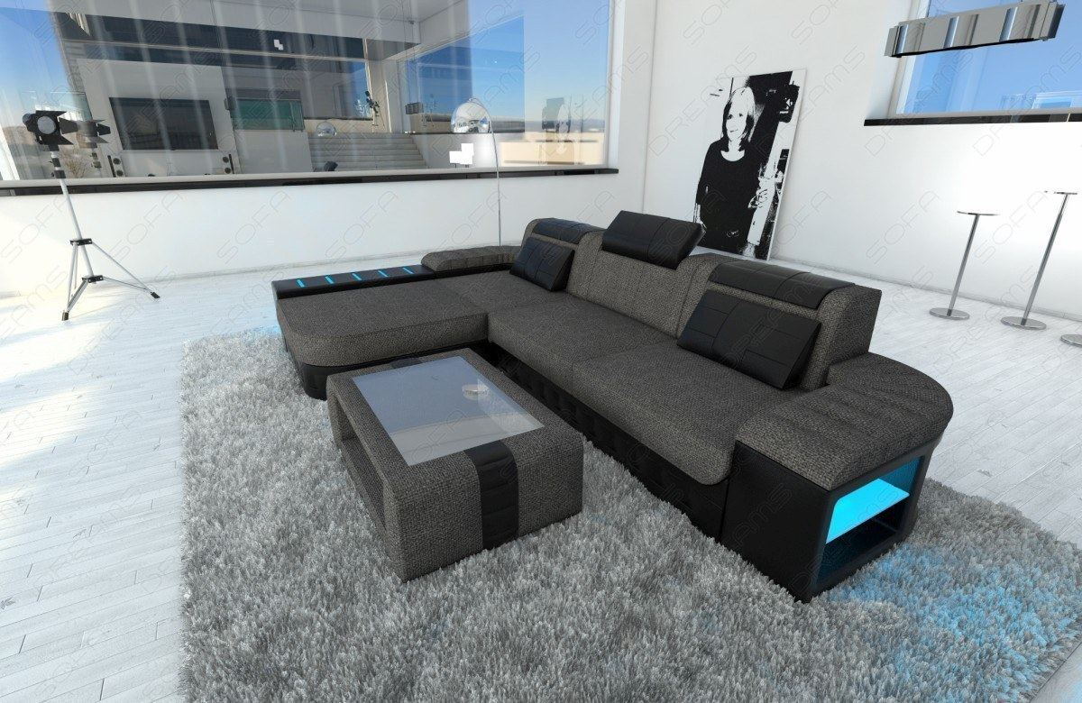 Sofa Beleuchtung : Fabric Sectional Sofa BELLAGIO L Shape with LED Lights - choose your ...