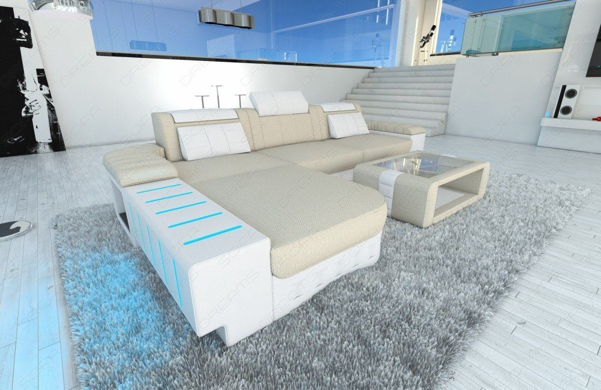 stoffcouch l form bellagio mit led beleuchtung. Black Bedroom Furniture Sets. Home Design Ideas