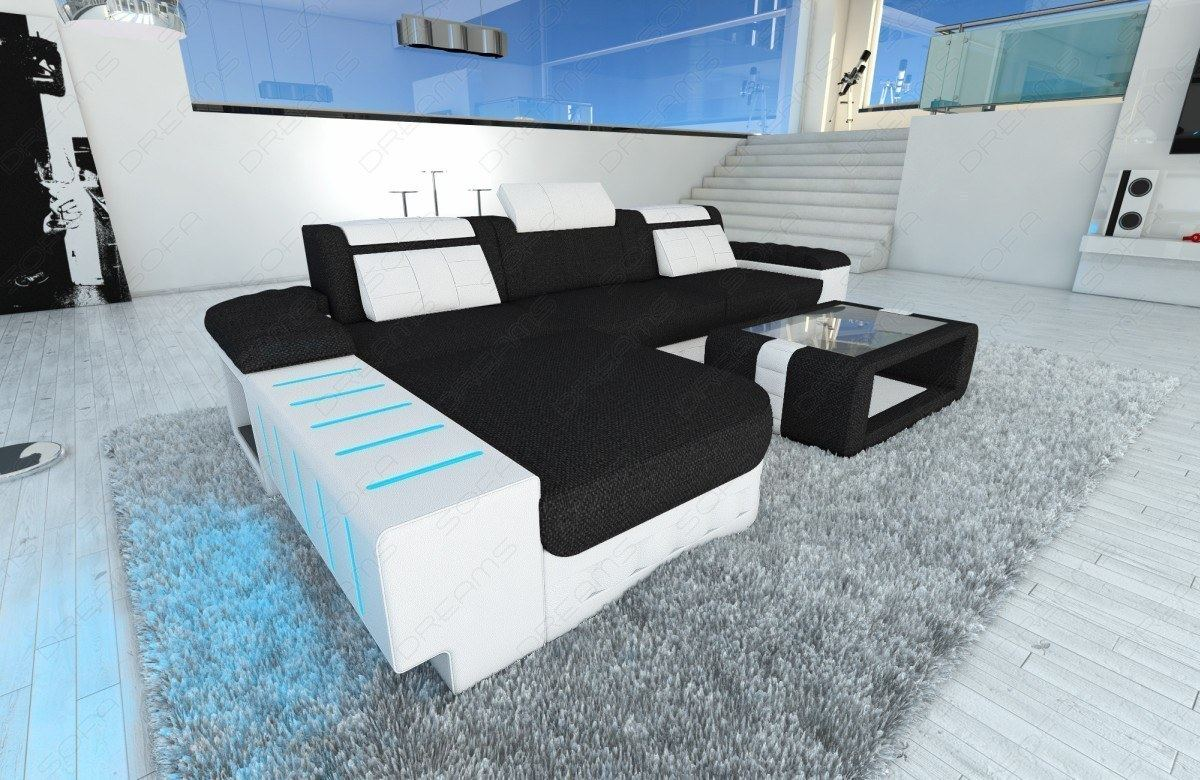 Stoff Couch Stoff / Leder Mix BELLAGIO L Form mit LED Beleuchtung ...