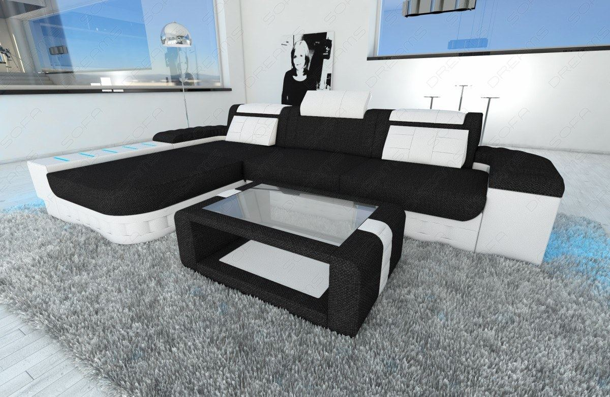 fabric sectional sofa bellagio l shape with led lights choose your colour ebay. Black Bedroom Furniture Sets. Home Design Ideas