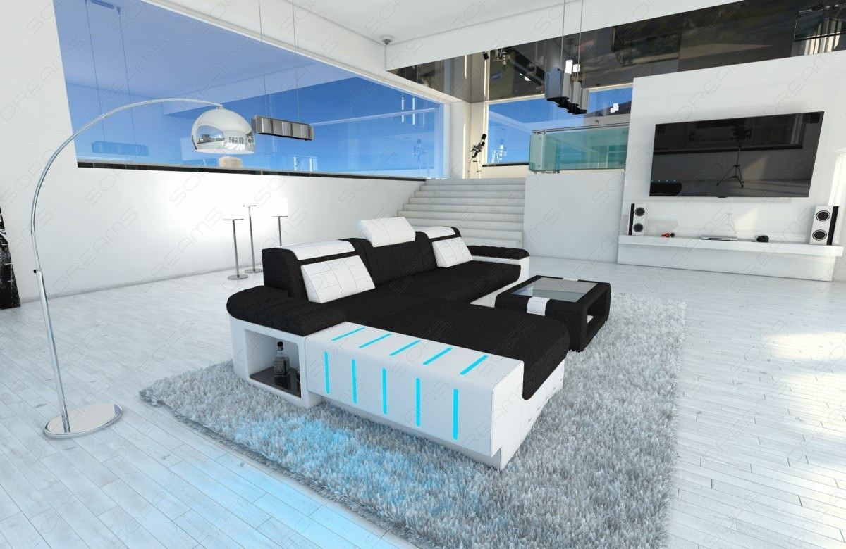 fabric sectional sofa bellagio l shape with led lights. Black Bedroom Furniture Sets. Home Design Ideas