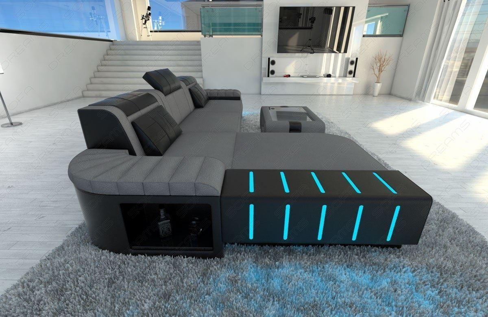 ecksofa mit beleuchtung stunning polsterecke mit. Black Bedroom Furniture Sets. Home Design Ideas