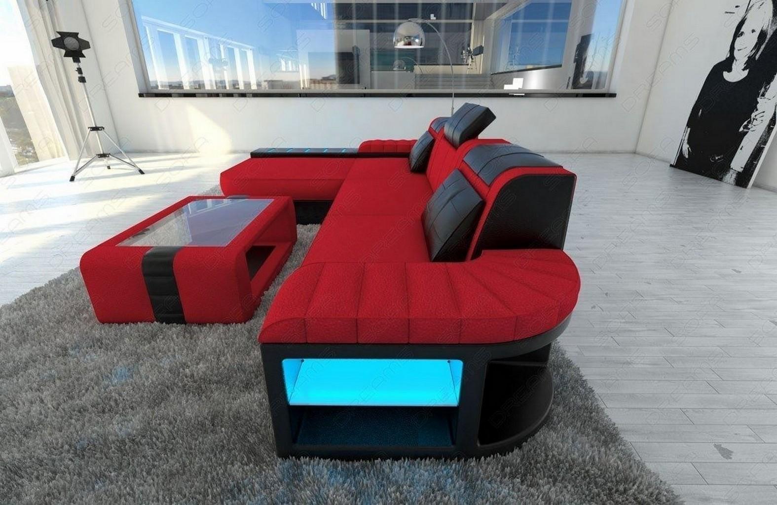 stoffsofa eckcouch bellagio l form led beleuchtung stoff. Black Bedroom Furniture Sets. Home Design Ideas