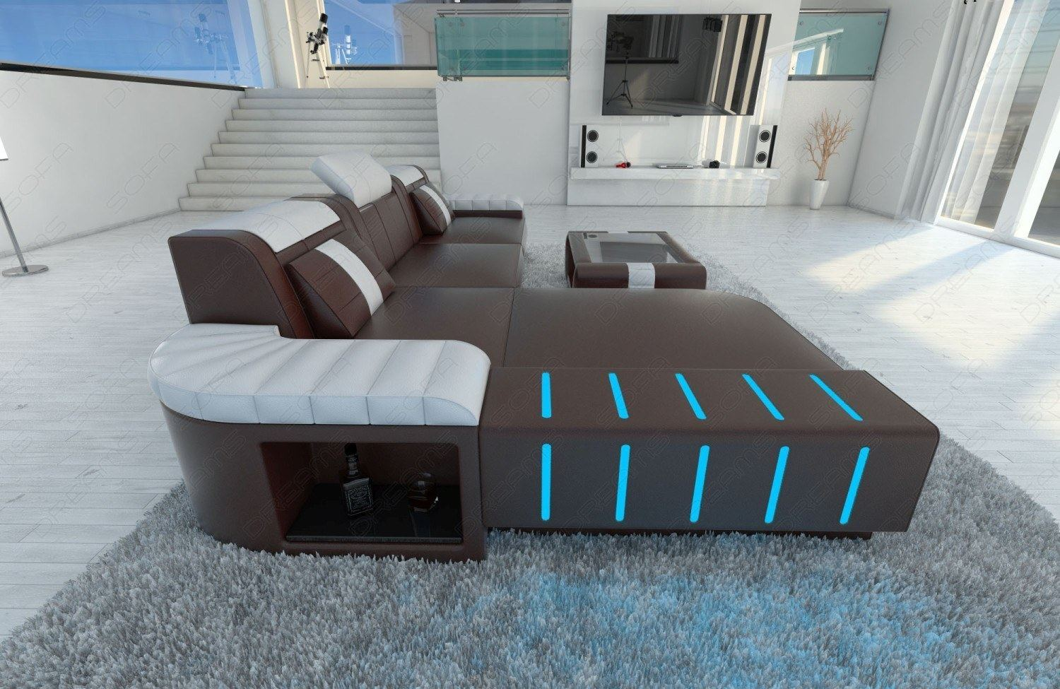 Ledersofa bellagio l form designersofa mit led eckcouch for Eckcouch design