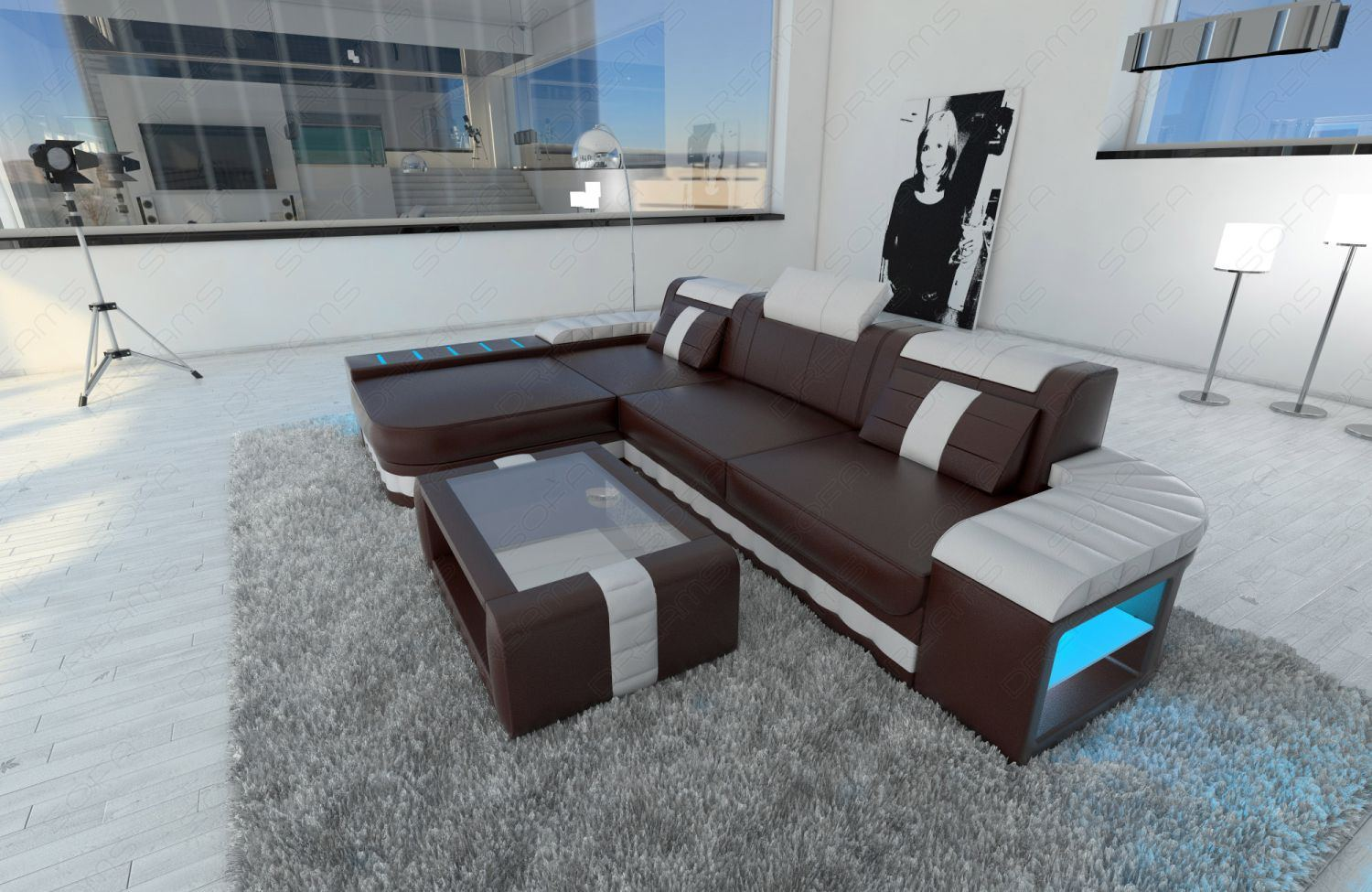 design leather sofa bellagio l with led lighting and. Black Bedroom Furniture Sets. Home Design Ideas