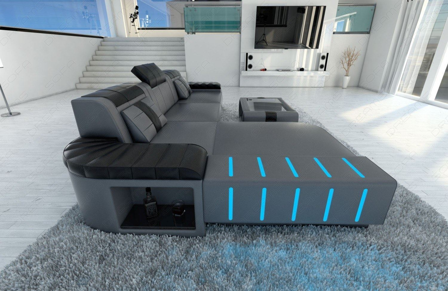 designercouch bellagio l f rmig ecksofa mit led beleuchtung grau schwarz ebay. Black Bedroom Furniture Sets. Home Design Ideas