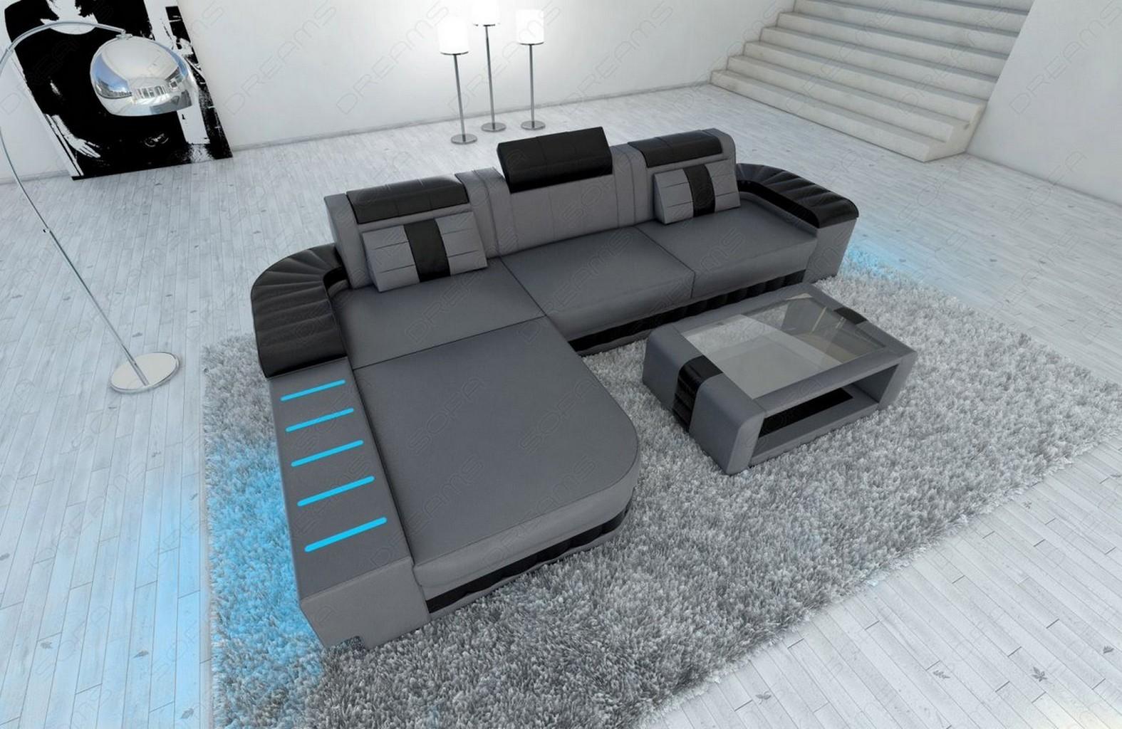 modern sofa bellagio led l shaped grey black ebay. Black Bedroom Furniture Sets. Home Design Ideas