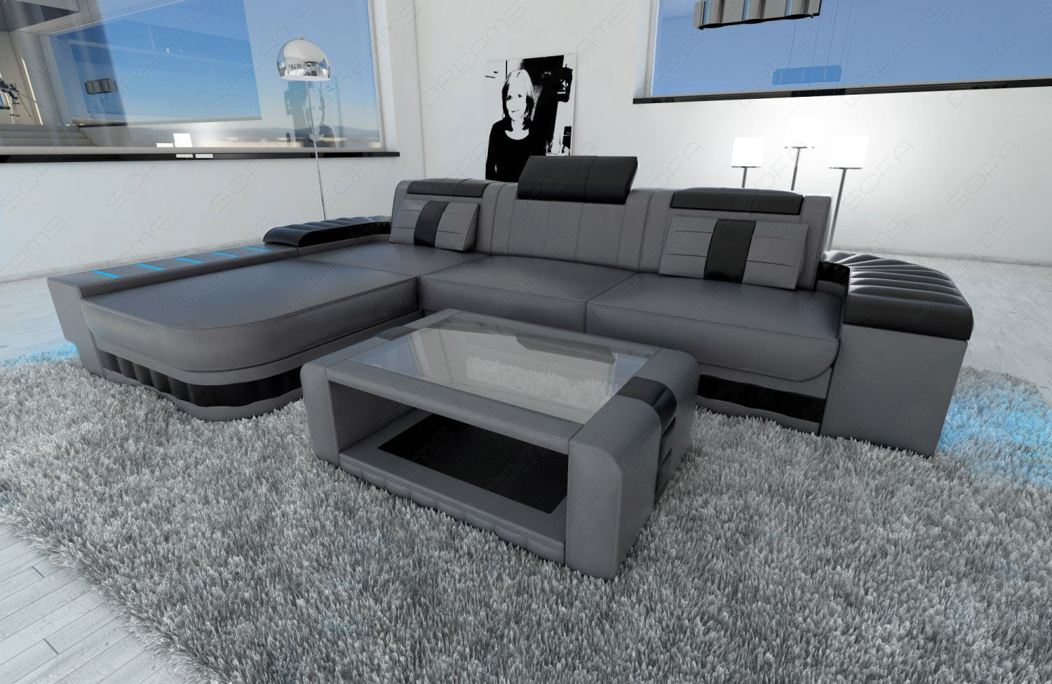 designercouch sofa bellagio l form ecksofa couch led beleuchtung grau schwarz ebay. Black Bedroom Furniture Sets. Home Design Ideas