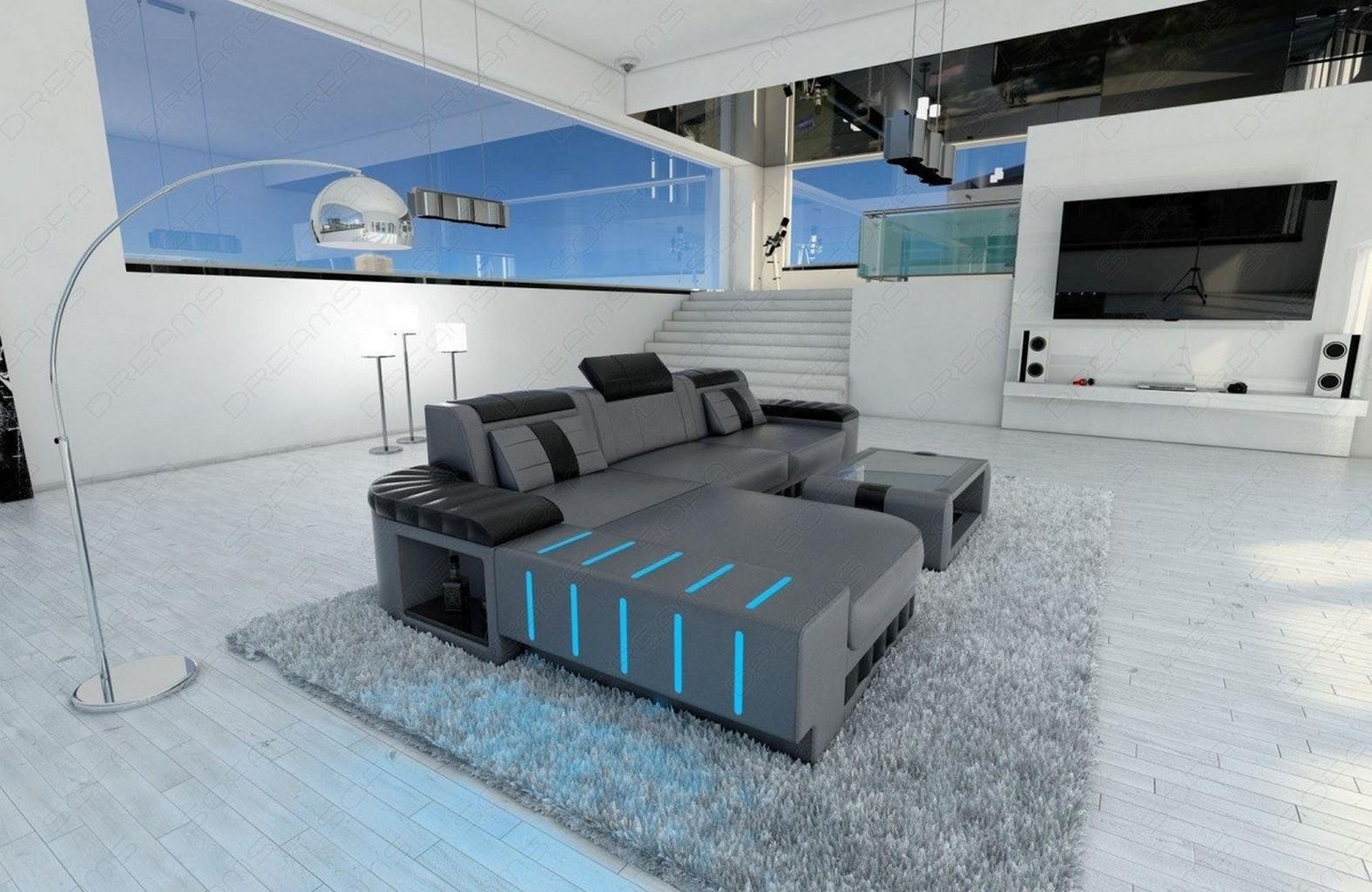 designercouch bellagio l f rmig ecksofa mit led beleuchtung grau schwarz ebay. Black Bedroom Furniture Sets. Home Design Ideas