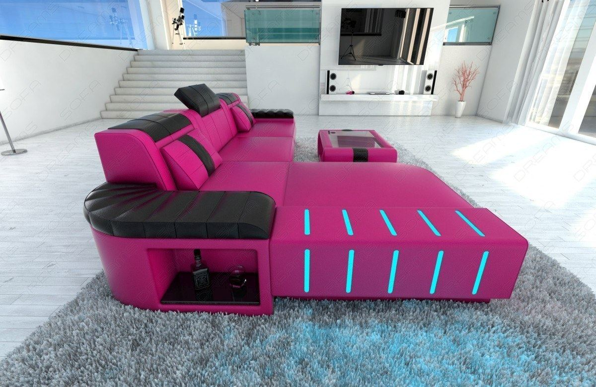 designersofa bellagio l form couch garnitur mit led ledersofa eckcouch in pink ebay. Black Bedroom Furniture Sets. Home Design Ideas