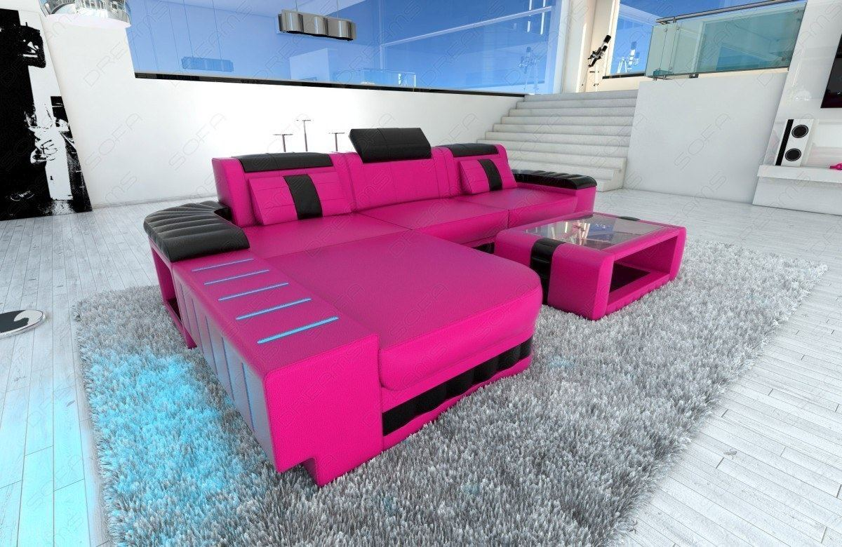 Modern Sofa Bellagio Led L Shaped Pink Black