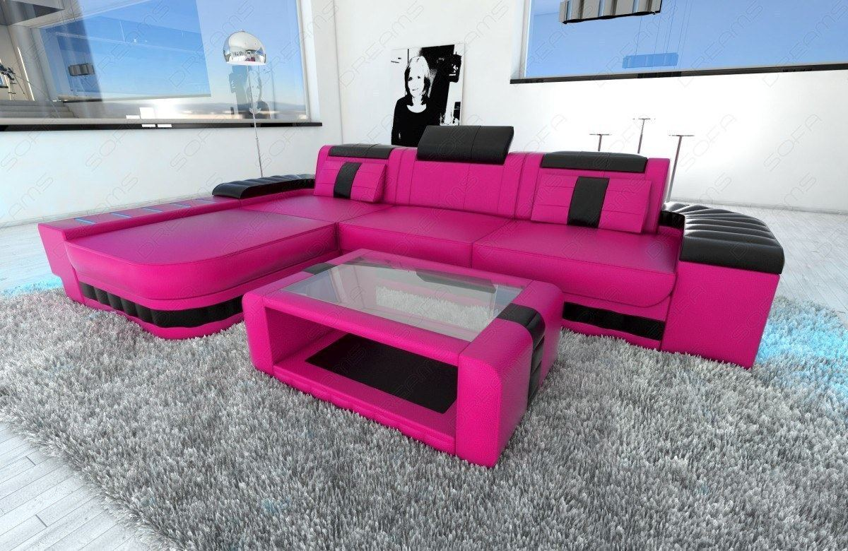 Sofa Beleuchtung : Modern Sofa BELLAGIO LED L-Shaped pink black  eBay