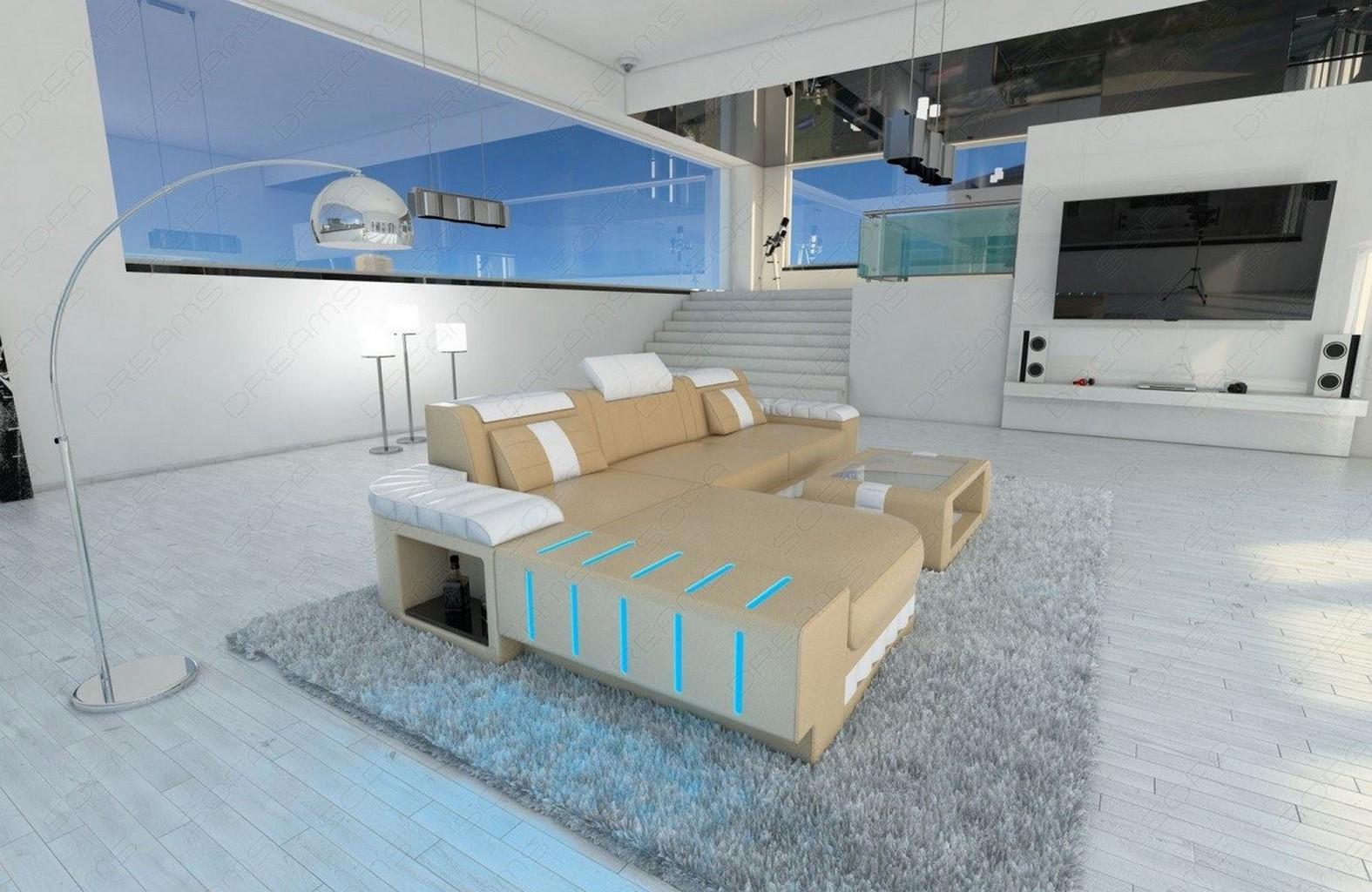 designsofa eckcouch bellagio l f rmig integrierte led. Black Bedroom Furniture Sets. Home Design Ideas