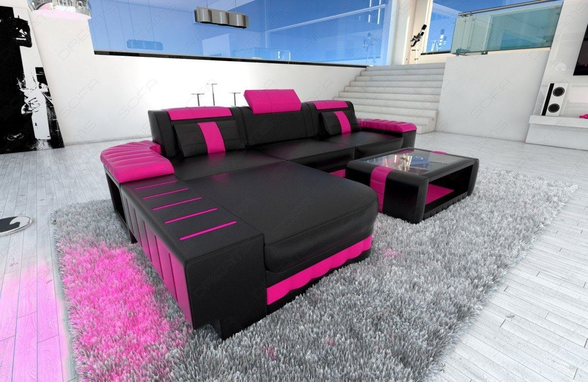 Ledersofa schwarz modern  Modern Sofa BELLAGIO LED L-Shaped black pink | eBay