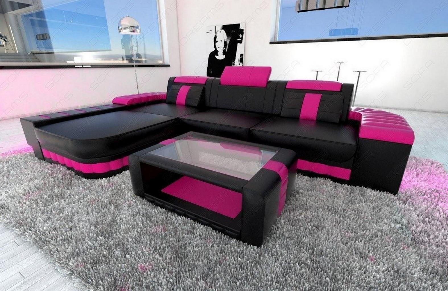 ledersofa bellagio l form design sofa couch mit led couchgarnitur schwarz pink ebay. Black Bedroom Furniture Sets. Home Design Ideas