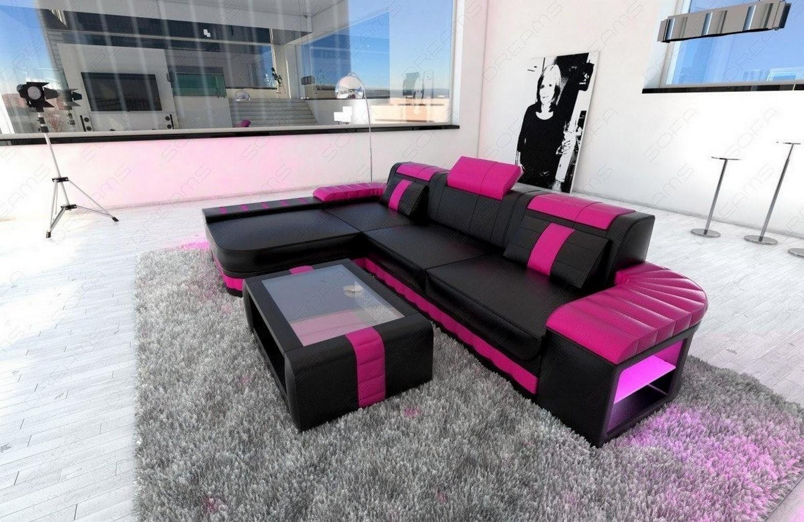 modern sofa bellagio led l shaped black pink ebay. Black Bedroom Furniture Sets. Home Design Ideas