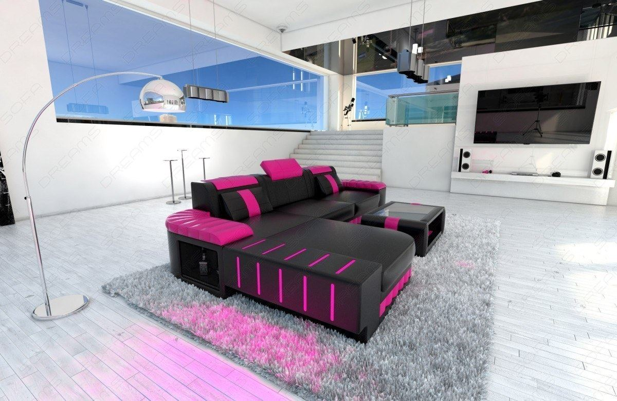 ledersofa bellagio l form design sofa couch mit led couchgarnitur schwarz pink ebay. Black Bedroom Furniture Sets. Home Design Ideas