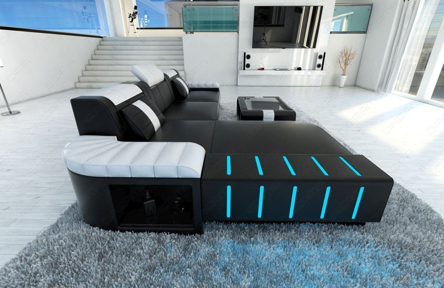 Modern sofa bellagio led l shaped black white ebay for Sofa l form mit schlaffunktion