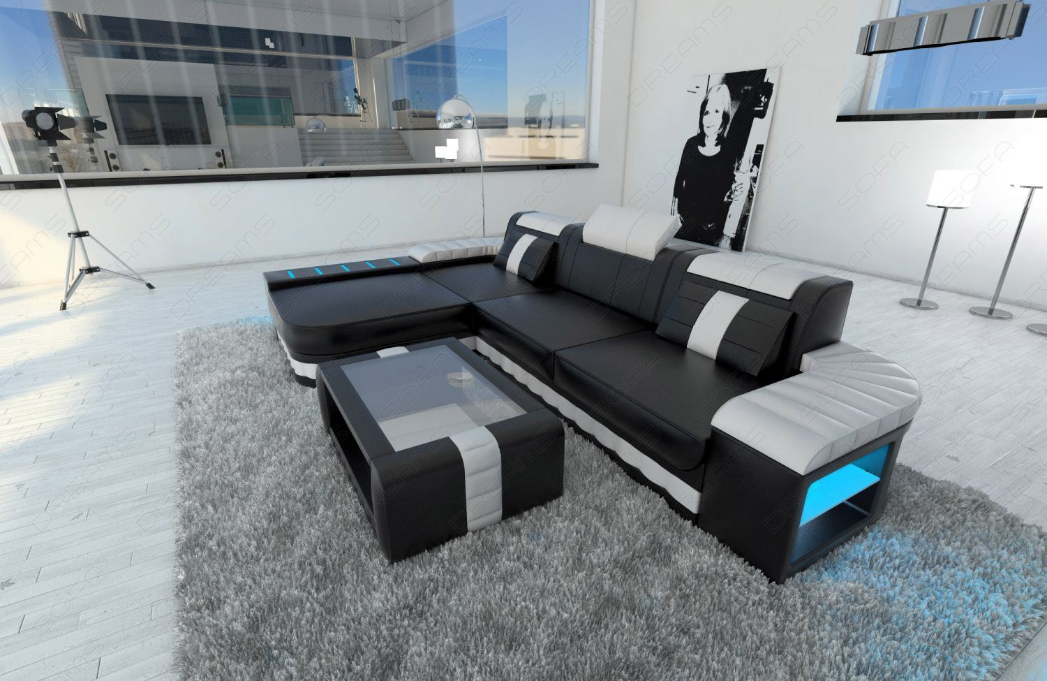 modern sofa bellagio led l shaped black white ebay. Black Bedroom Furniture Sets. Home Design Ideas