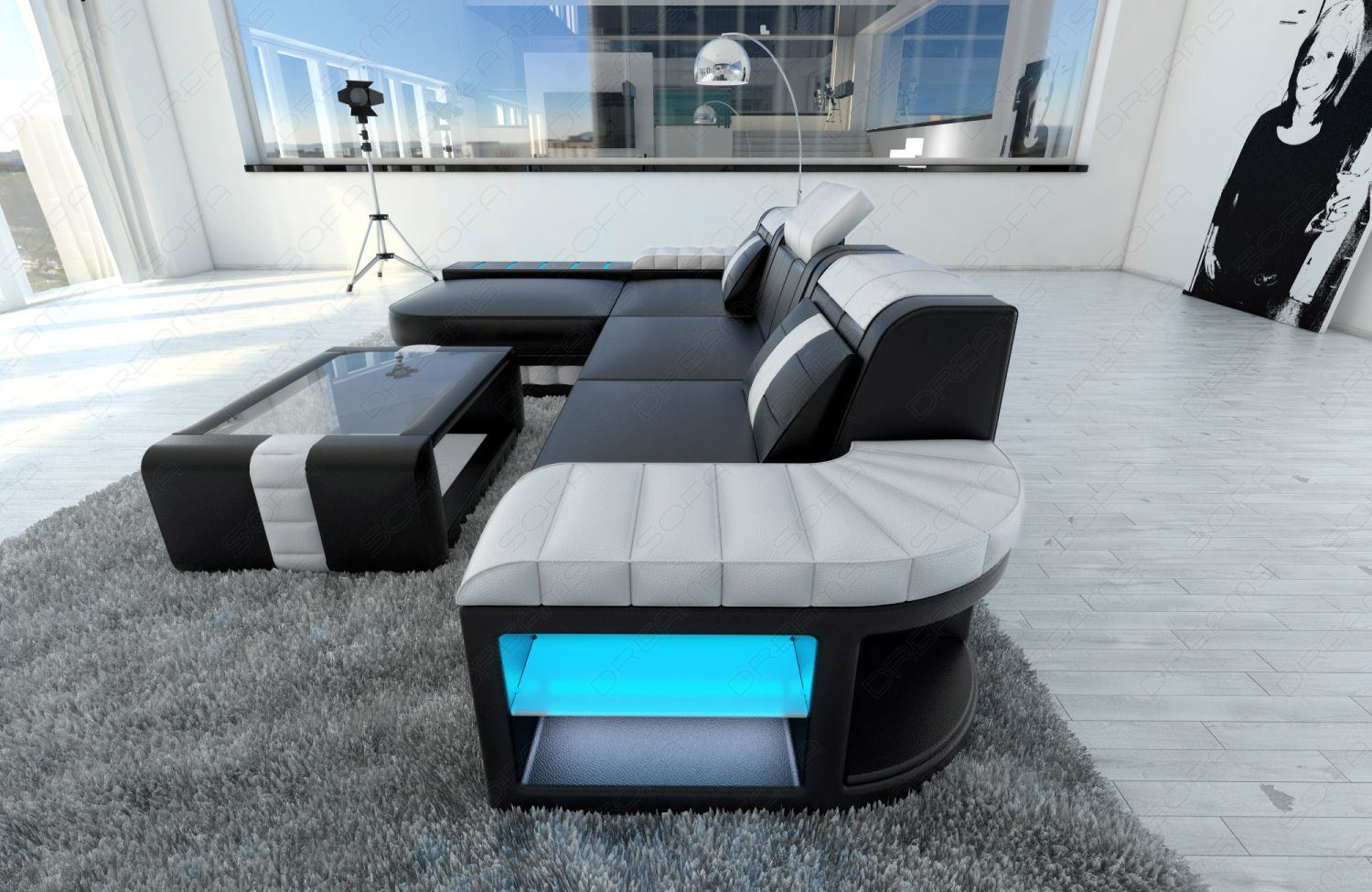 ledersofa bellagio l form designersofa mit led beleuchtung ebay. Black Bedroom Furniture Sets. Home Design Ideas