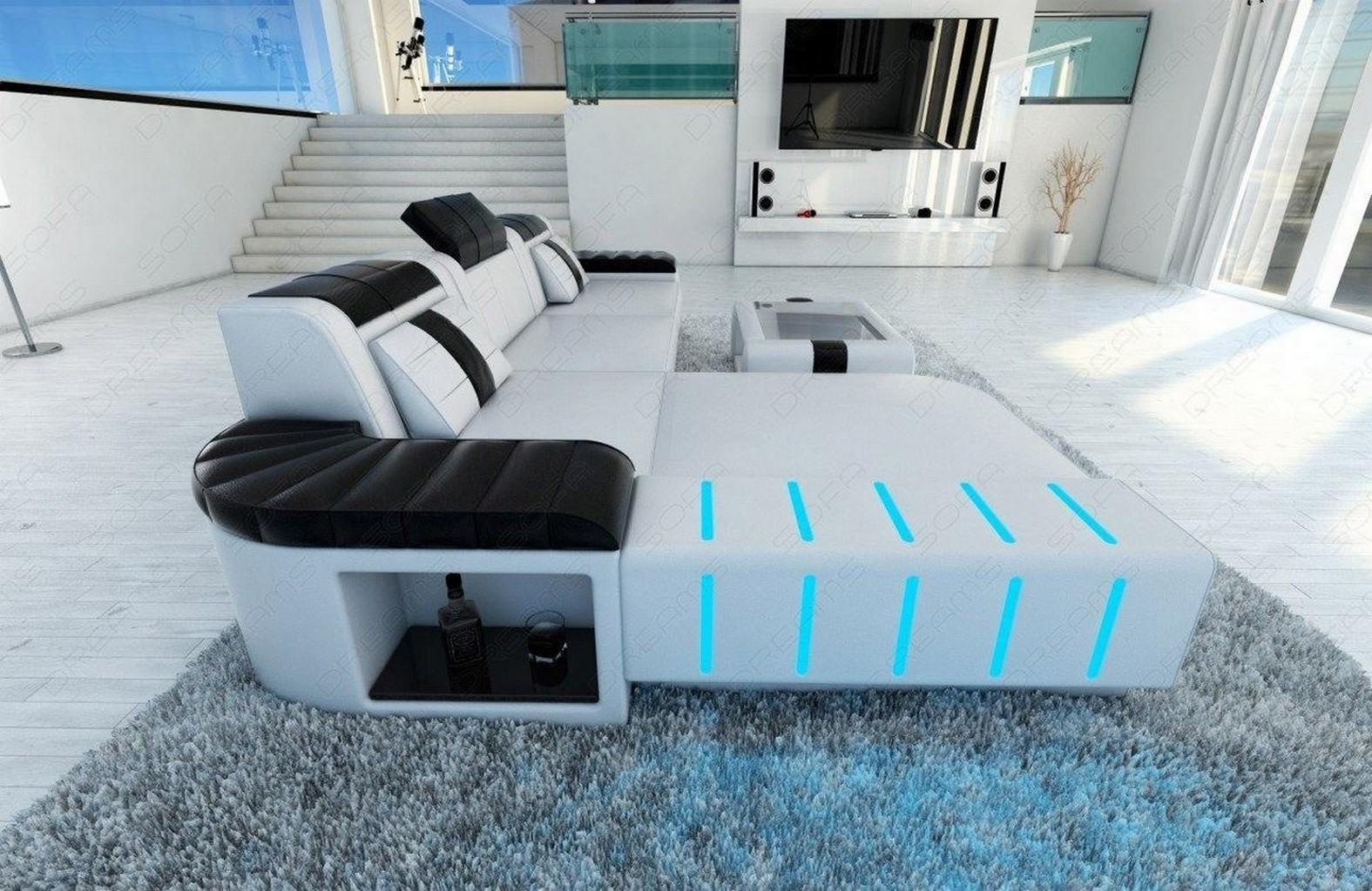 ledersofa bellagio l form ecksofa echtleder mit led beleuchtung ebay. Black Bedroom Furniture Sets. Home Design Ideas