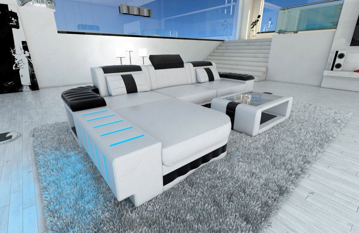 modern sofa bellagio led l shaped white black ebay. Black Bedroom Furniture Sets. Home Design Ideas