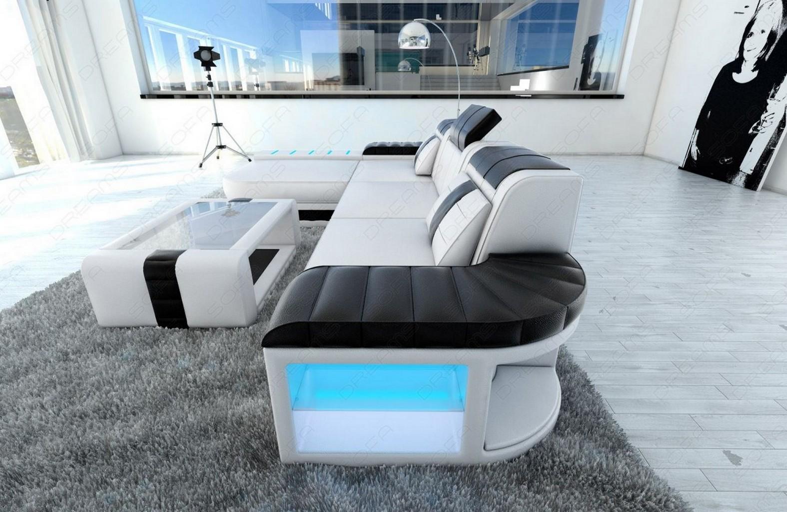modern sofa bellagio led l shaped white black ebay. Black Bedroom Furniture Sets. Home Design Ideas