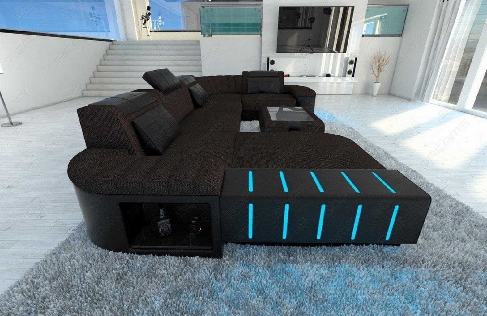 big fabric sofa bellagio u shape with led lights design. Black Bedroom Furniture Sets. Home Design Ideas