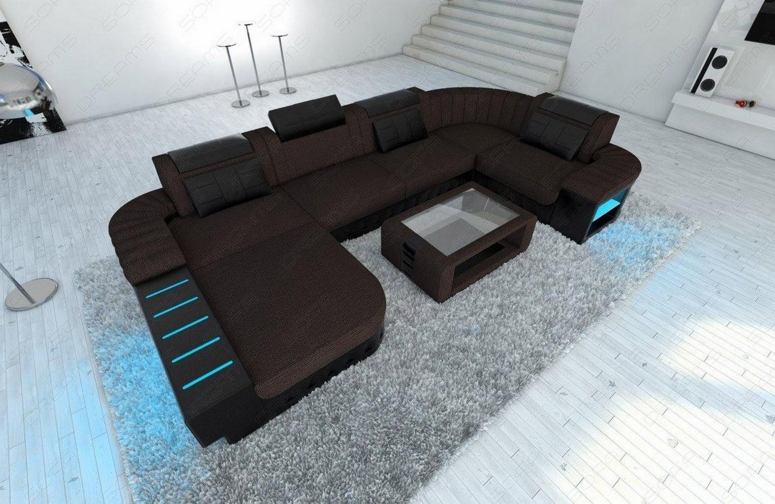 Stoffcouch wohnlandschaft bellagio u form in dunkelbraun for Echtleder sofa u form