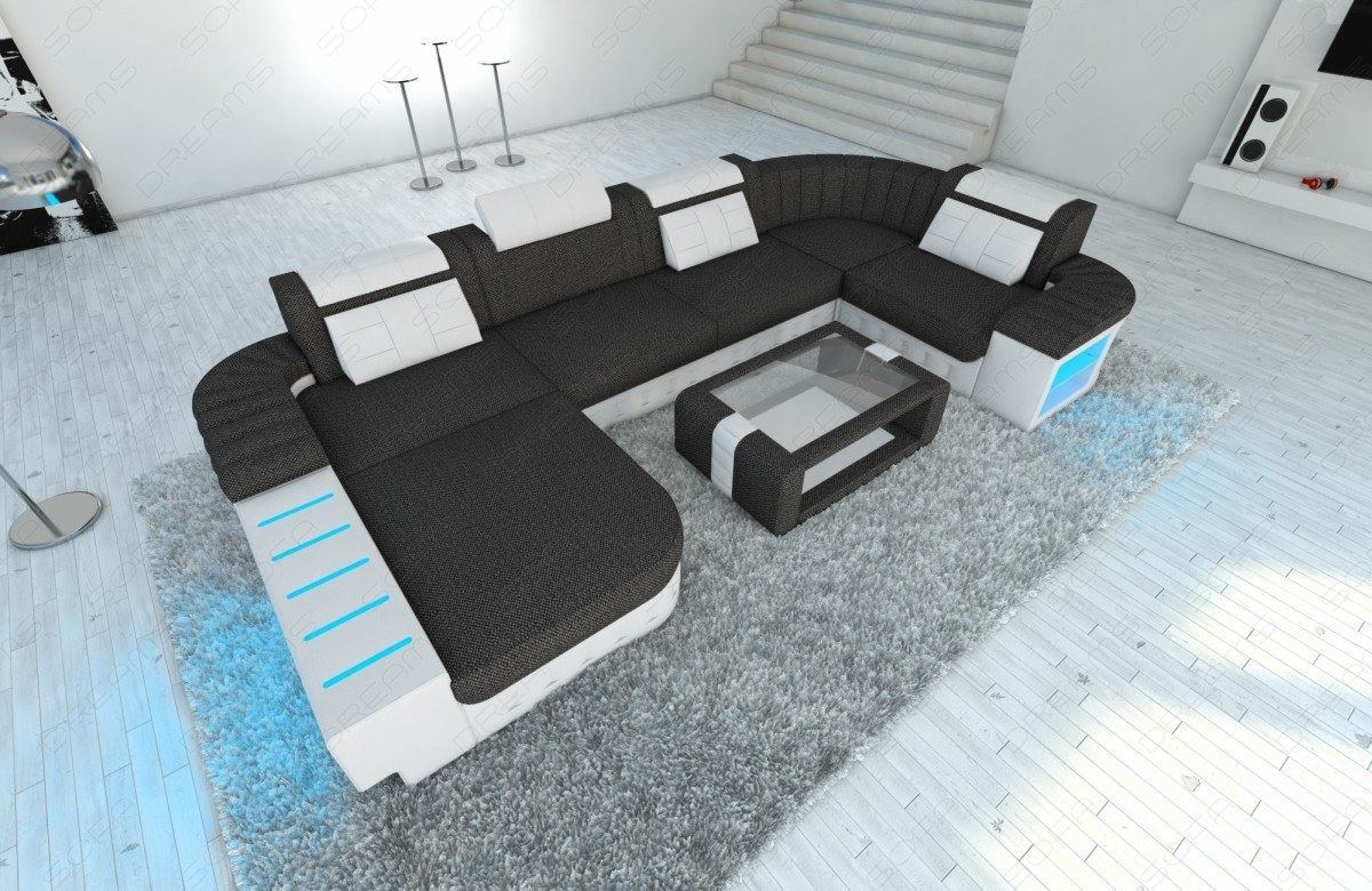 Fabric corner sofa BELLAGIO U Shape LED Lights large microfiber ...