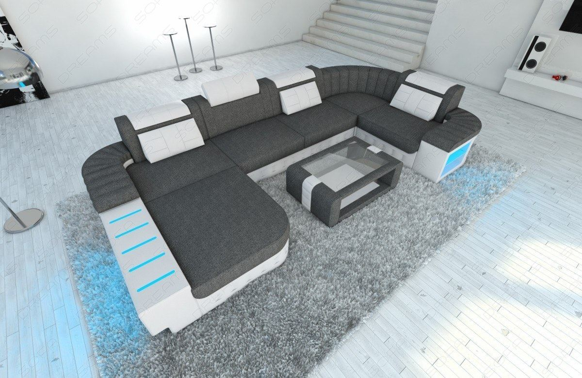 fabric sectional sofa bellagio u with led half leather. Black Bedroom Furniture Sets. Home Design Ideas