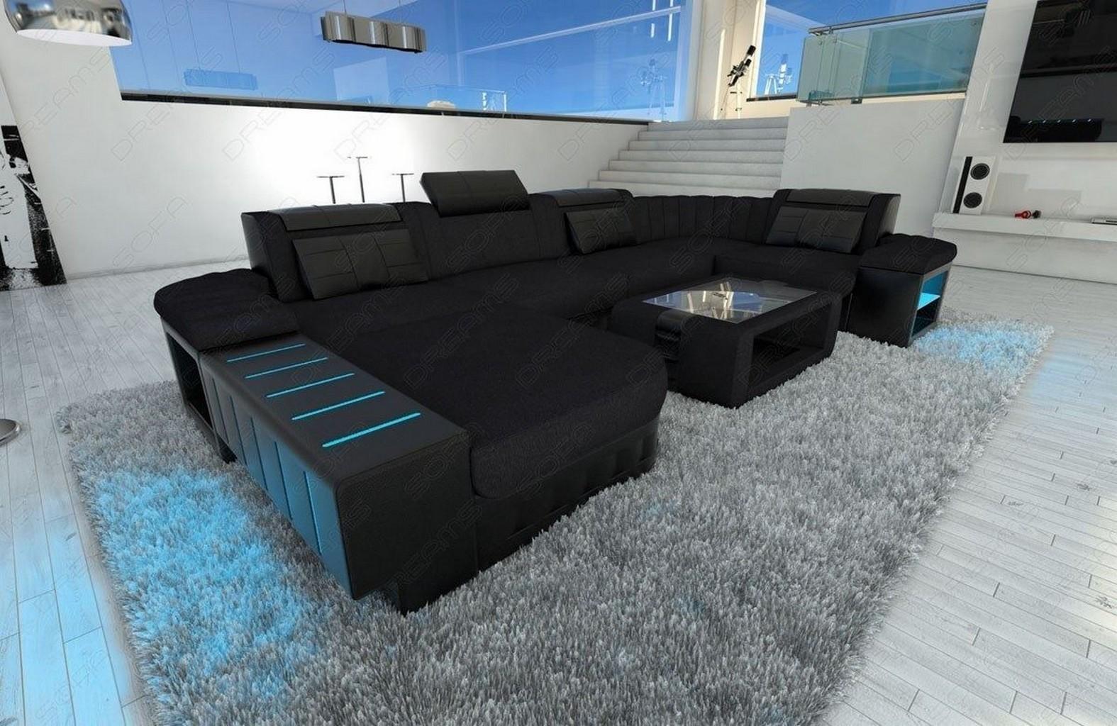 Design Wohnlandschaft BELLAGIO U Form Materialmix Couch schwarz LED ...