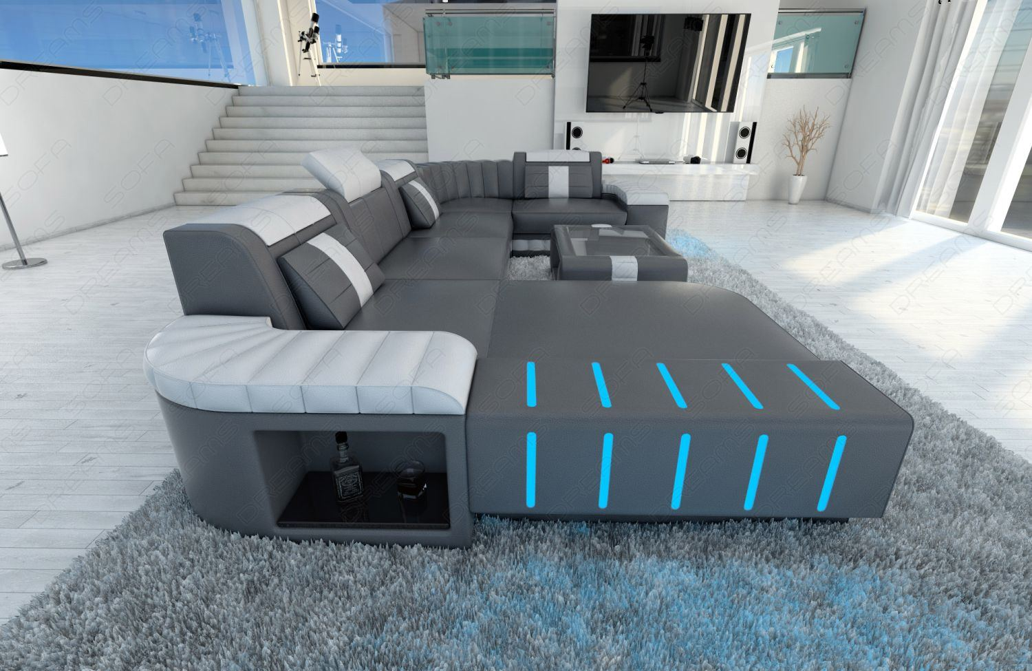 details about big sectional leather sofa bellagio u with led lighting. Black Bedroom Furniture Sets. Home Design Ideas