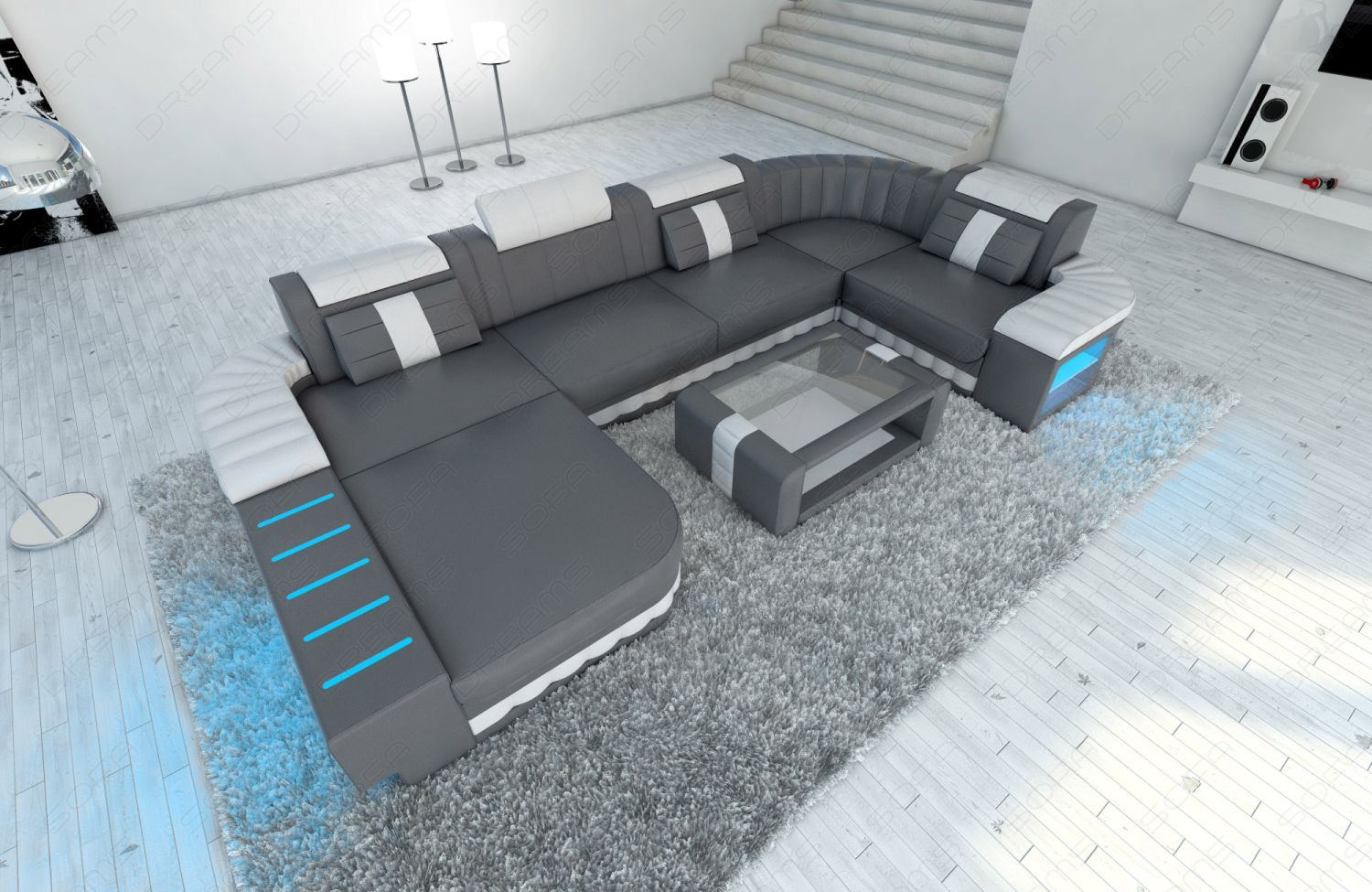 design sectional sofa bellagio led u shape grey white ebay. Black Bedroom Furniture Sets. Home Design Ideas