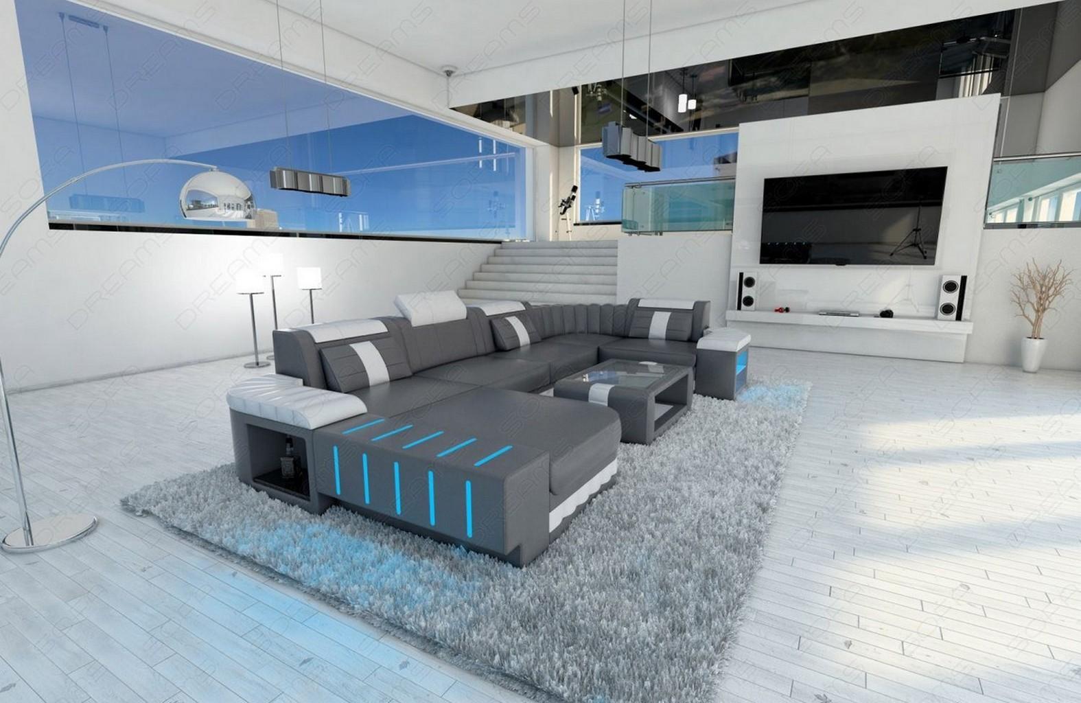 Design sectional sofa bellagio led u shape grey white ebay for Sofa u form grau