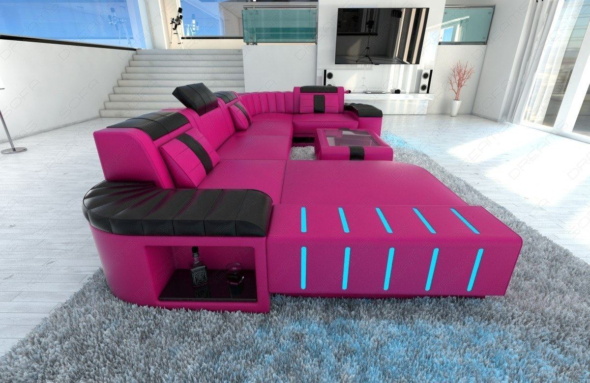 Leather Sofa Living Landscape Bellagio U Shape With Led Sofa Leather Couch Living Room Pink Ebay