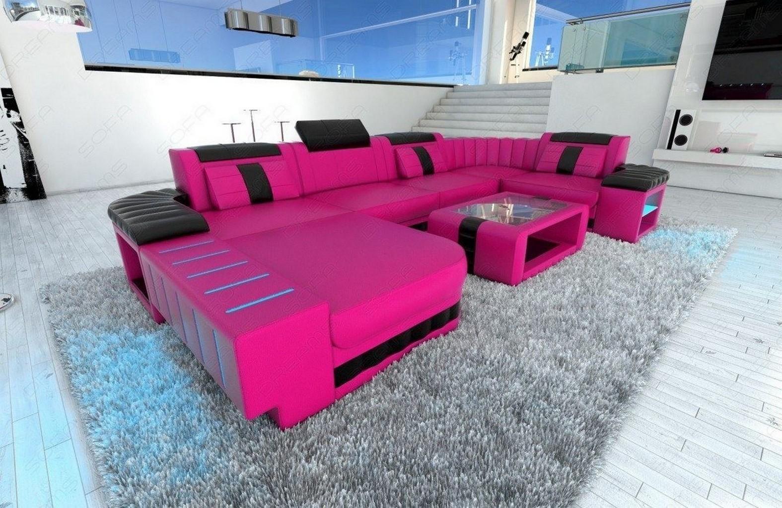 ledersofa wohnlandschaft bellagio u form mit led. Black Bedroom Furniture Sets. Home Design Ideas
