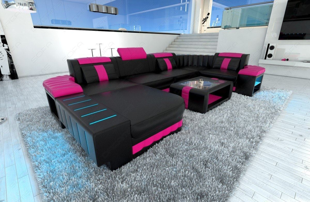 Design wohnlandschaft  Upholstered Sofa Interior Design Bellagio U-Shaped Couch with LED ...