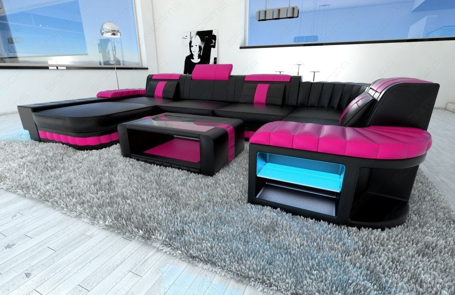 eckcouch designer wohnlandschaft bellagio u form schwarz pink led beleuchtung ebay. Black Bedroom Furniture Sets. Home Design Ideas